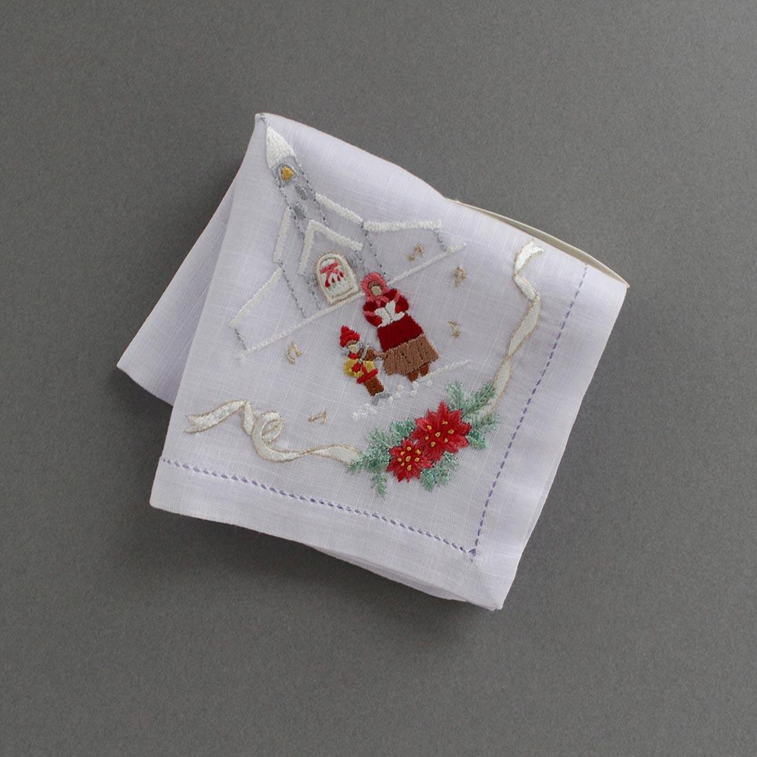 ポワンポワン ベトナム手刺繍ハンカチ Xmas 6702-28 教会 ラベンダー