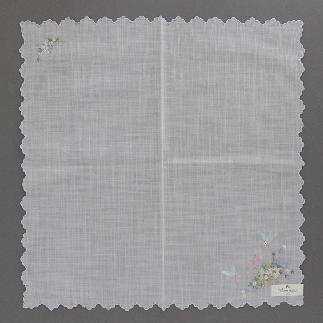 【送料無料】ポワンポワン ベトナム手刺繍 ハンカチ フラワーバスケット 1502