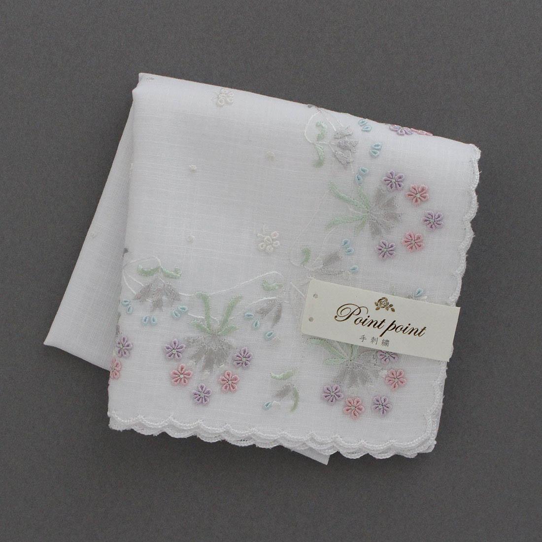 【送料無料】ポワンポワン ベトナム手刺繍 ハンカチ 花いっぱい 6212