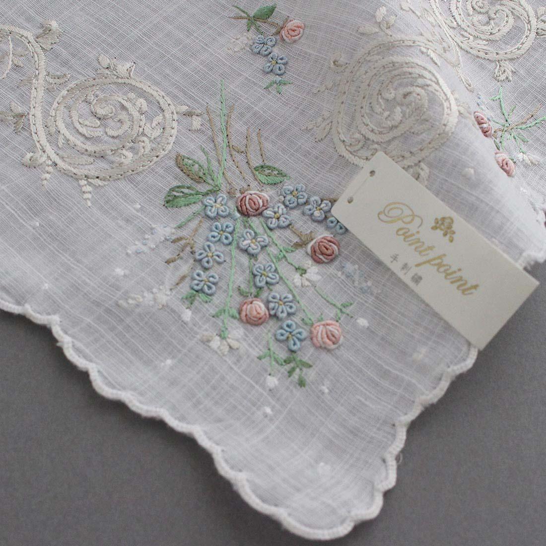 【送料無料】ポワンポワン ベトナム手刺繍 ハンカチ 花スカラヘム