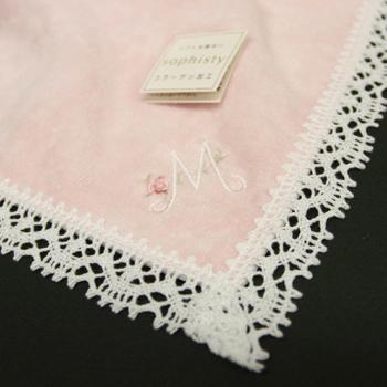 ソフィスティタオルハンカチ イニシャル ピンク