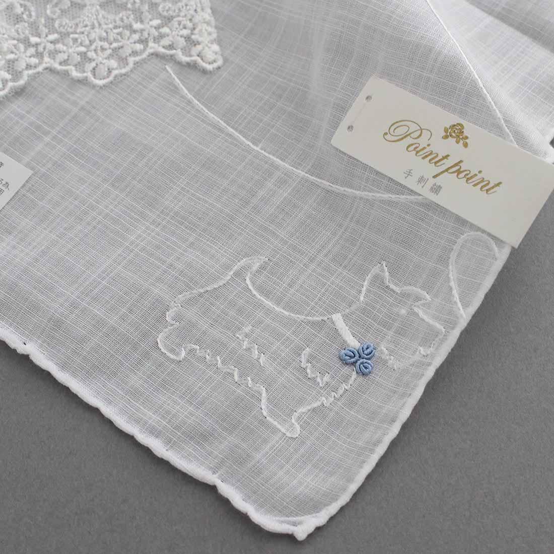 【送料無料】ベトナム手刺繍ハンカチ ブライダル 7202 ホワイト 新婦