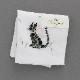 ベトナム手刺繍ハンカチ ネコ 6507 ホワイト
