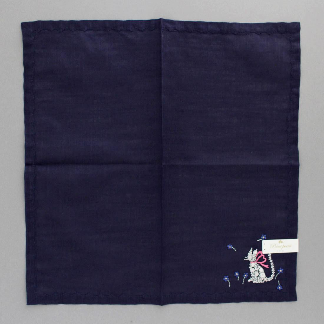 ベトナム手刺繍ハンカチ ネコ 6507 ネイビー