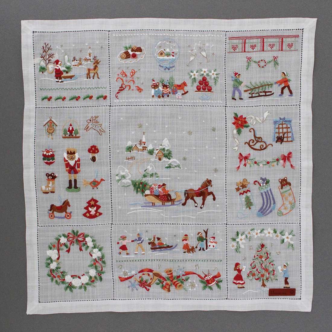 【送料無料】ベトナム手刺繍ハンカチ クリスマス 4701 ホワイト