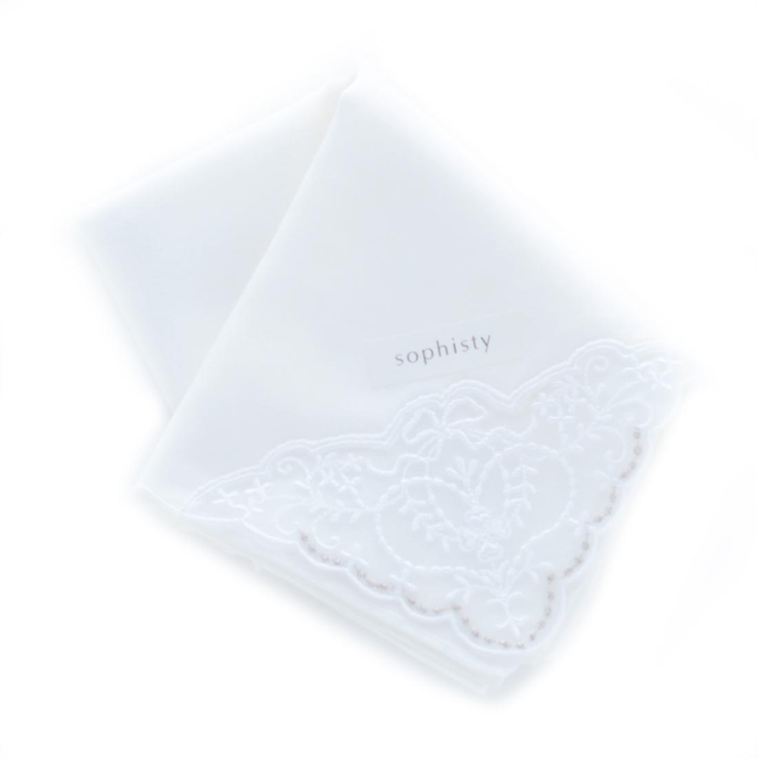 ソフィスティ 刺繍入りハンカチ 0204 ホワイト