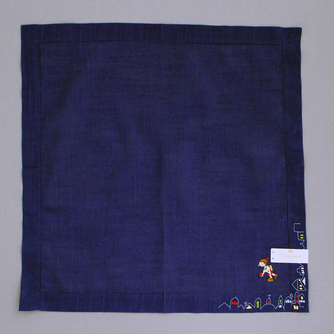 「ピノキオ」 ベトナム手刺繍ハンカチ 7501 ネイビー