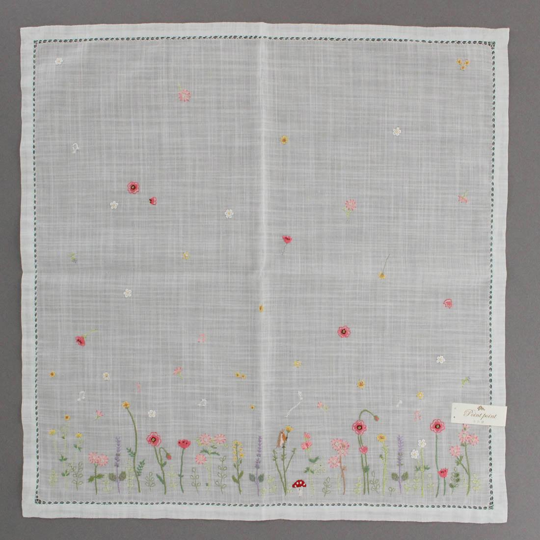 【送料無料】ベトナム手刺繍ハンカチ 花 2215 グリーン