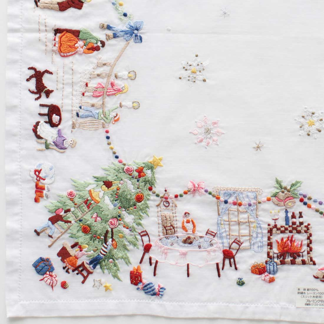 【送料無料】ベトナム手刺繍ハンカチ クリスマス 3701 ホワイト
