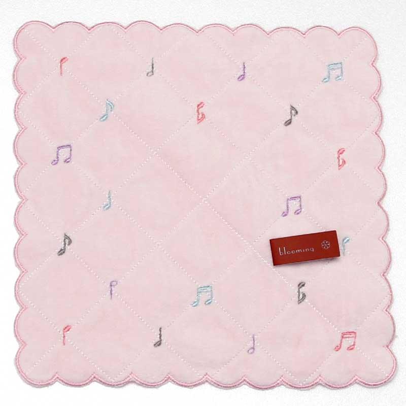 音楽シリーズ タオルハンカチ 音符 ピンク