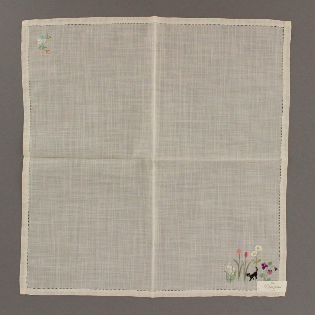 ポワンポワン ベトナム手刺繍ハンカチ 6221-07 イエロー