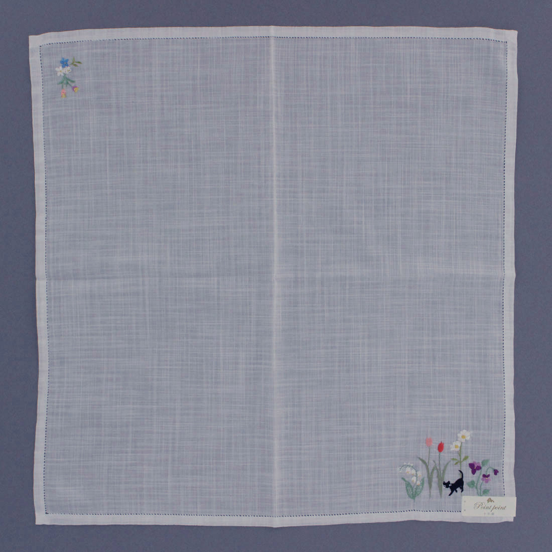 ポワンポワン ベトナム手刺繍ハンカチ 6221-10 ホワイト