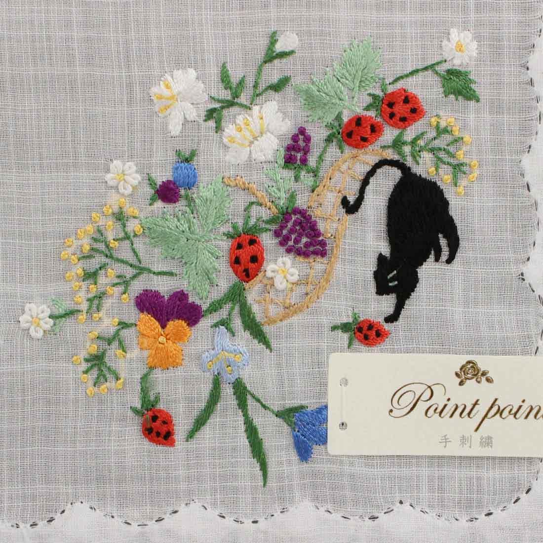 ポワンポワン ベトナム手刺繍ハンカチ 果物とネコ ホワイト