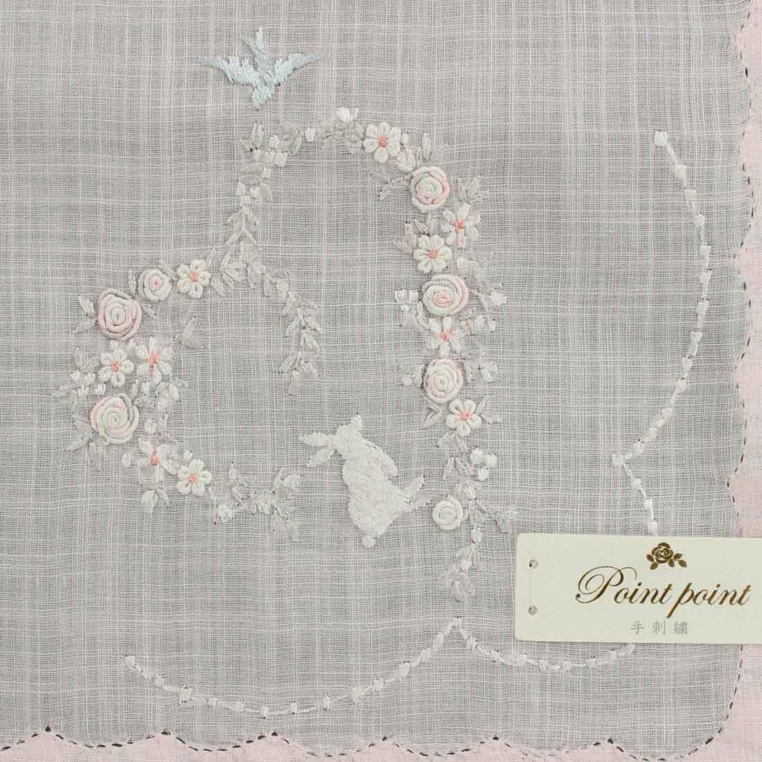 ポワンポワン ベトナム手刺繍ハンカチ 6223-01 ピンク