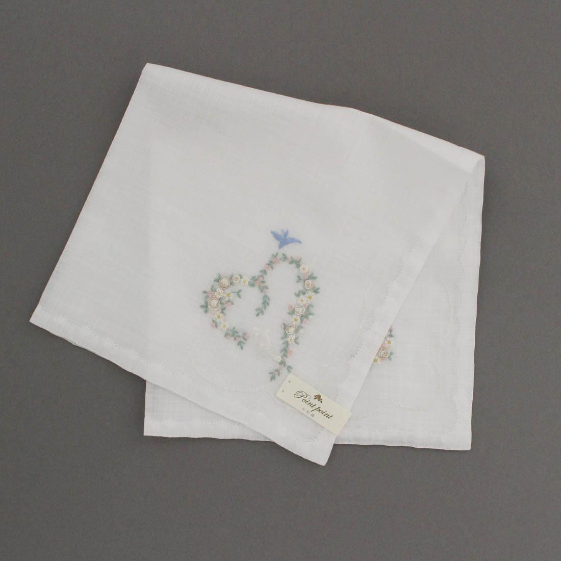 ポワンポワン ベトナム手刺繍ハンカチ 6223-10 ホワイト