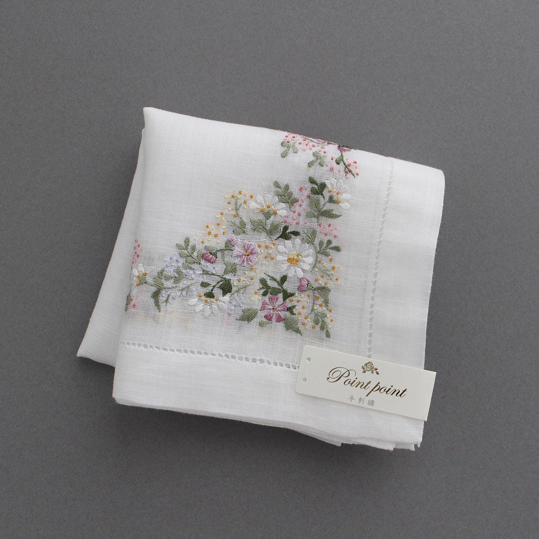 【送料無料】ベトナム手刺繍ハンカチ 花 5502 ピンク