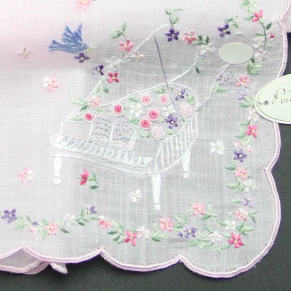 【送料無料】ベトナム手刺繍ハンカチ 青い鳥と音楽 2213 ピンク