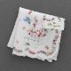 【送料無料】ベトナム手刺繍ハンカチ 青い鳥と音楽 2213 ホワイト
