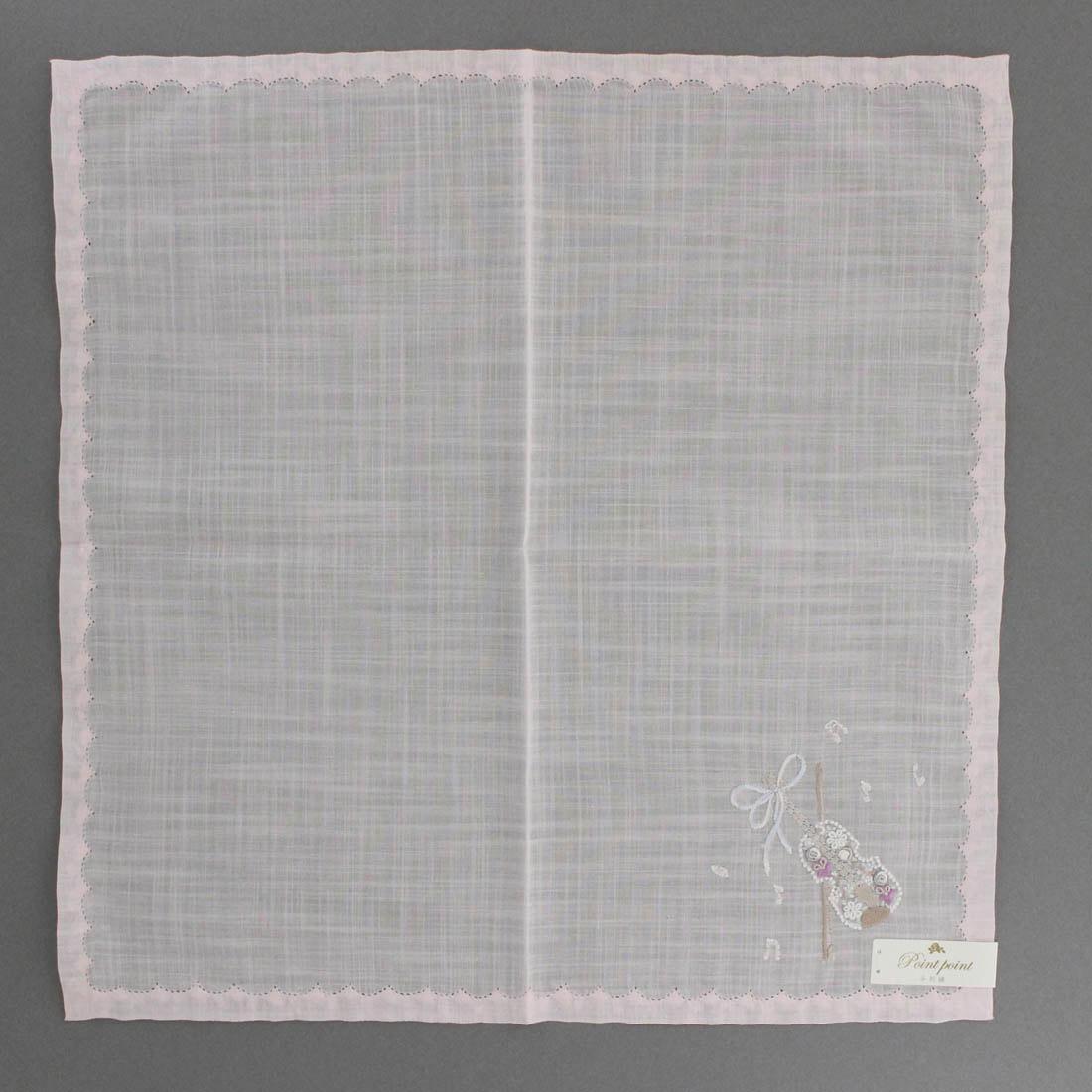 ポワンポワン ベトナム手刺繍ハンカチ 6502-01 ピンク