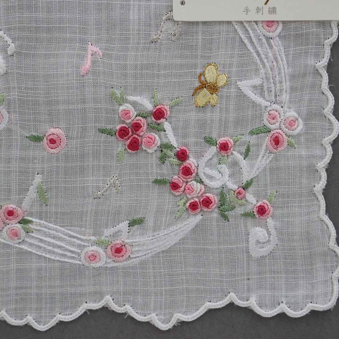 【送料無料】ベトナム手刺繍ハンカチ 花と音符 2214 ピンク