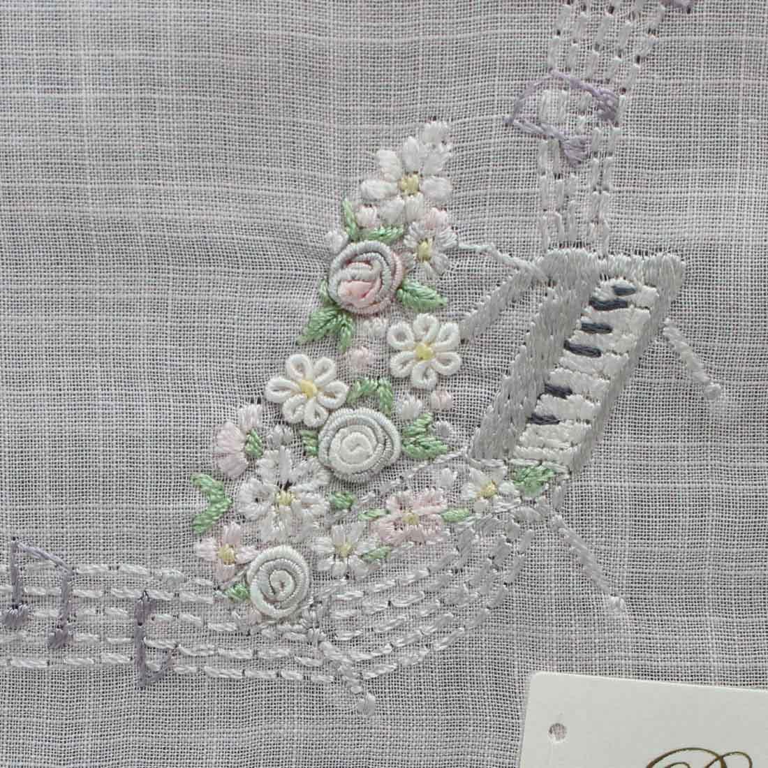 ポワンポワン ベトナム手刺繍ハンカチ 6503-01 ピンク