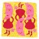 アツコマタノ 三重ガーゼハンカチ <ピンクのつっぱり月> 1503 イエロー 【Atsuko Matano】