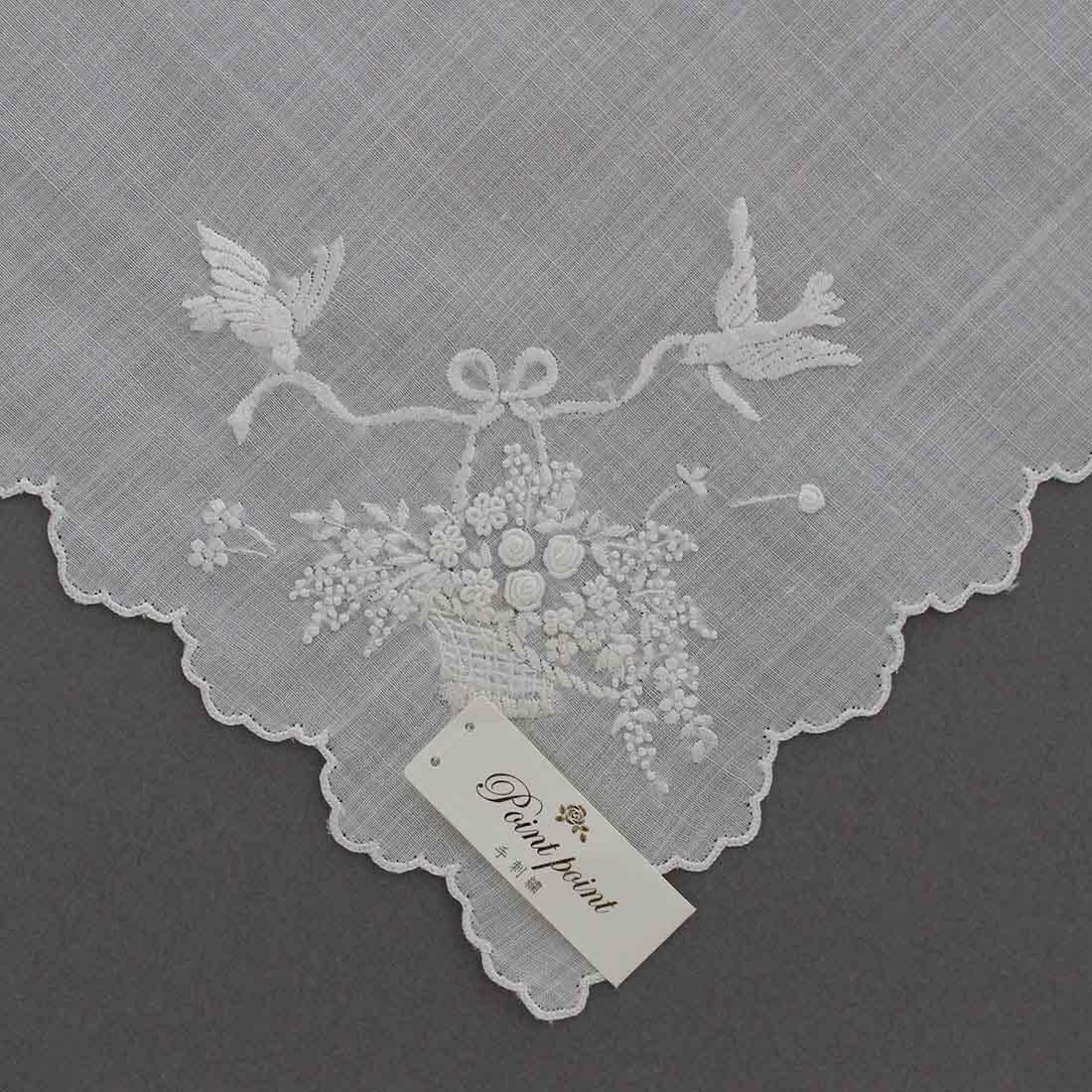 【送料無料】ポワンポワン ベトナム手刺繍 ハンカチ フラワーバスケット 1502 ホワイト