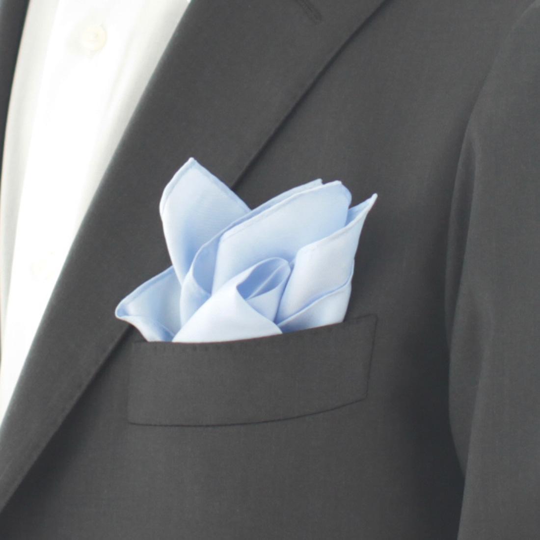 ポケットチーフ 無地 5251 ブルー