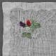 ポワンポワン ベトナム手刺繍ハンカチ 果物とネコ グリーン