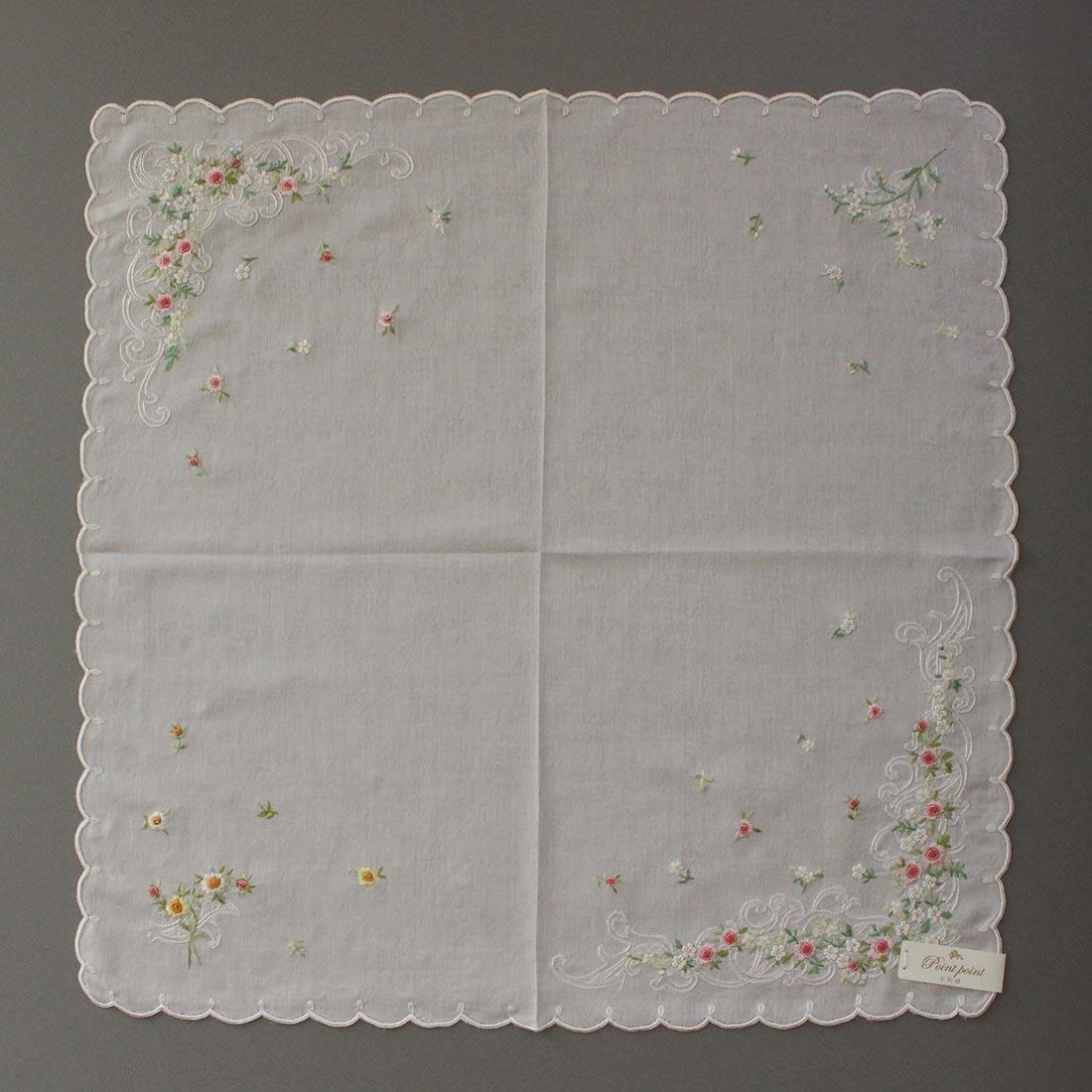 【送料無料】ベトナム手刺繍ハンカチ 花 2216 グレー