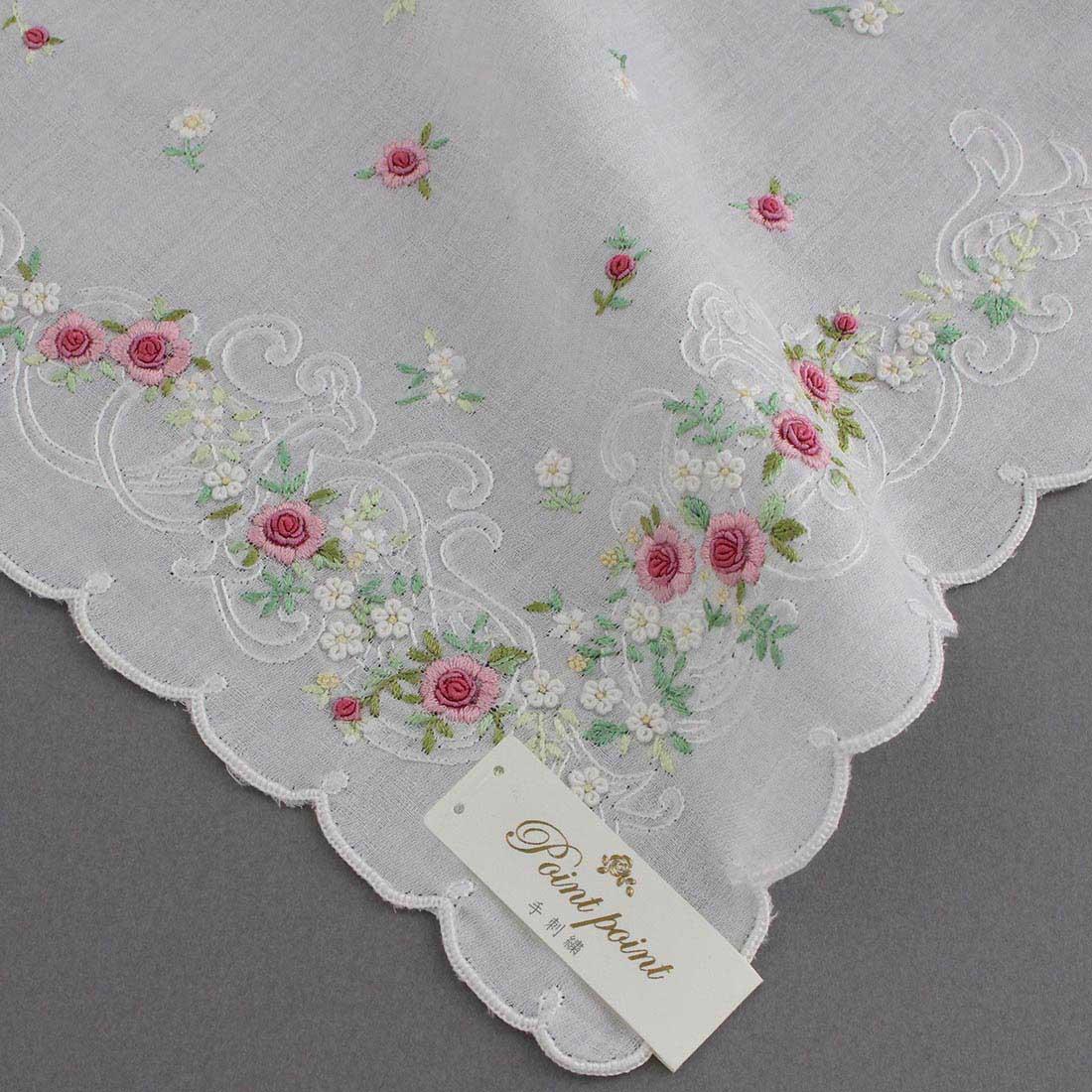 【送料無料】ベトナム手刺繍ハンカチ 花 2216 ホワイト/ピンク