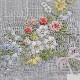 【送料無料】ベトナム手刺繍ハンカチ 花 5211 グレー