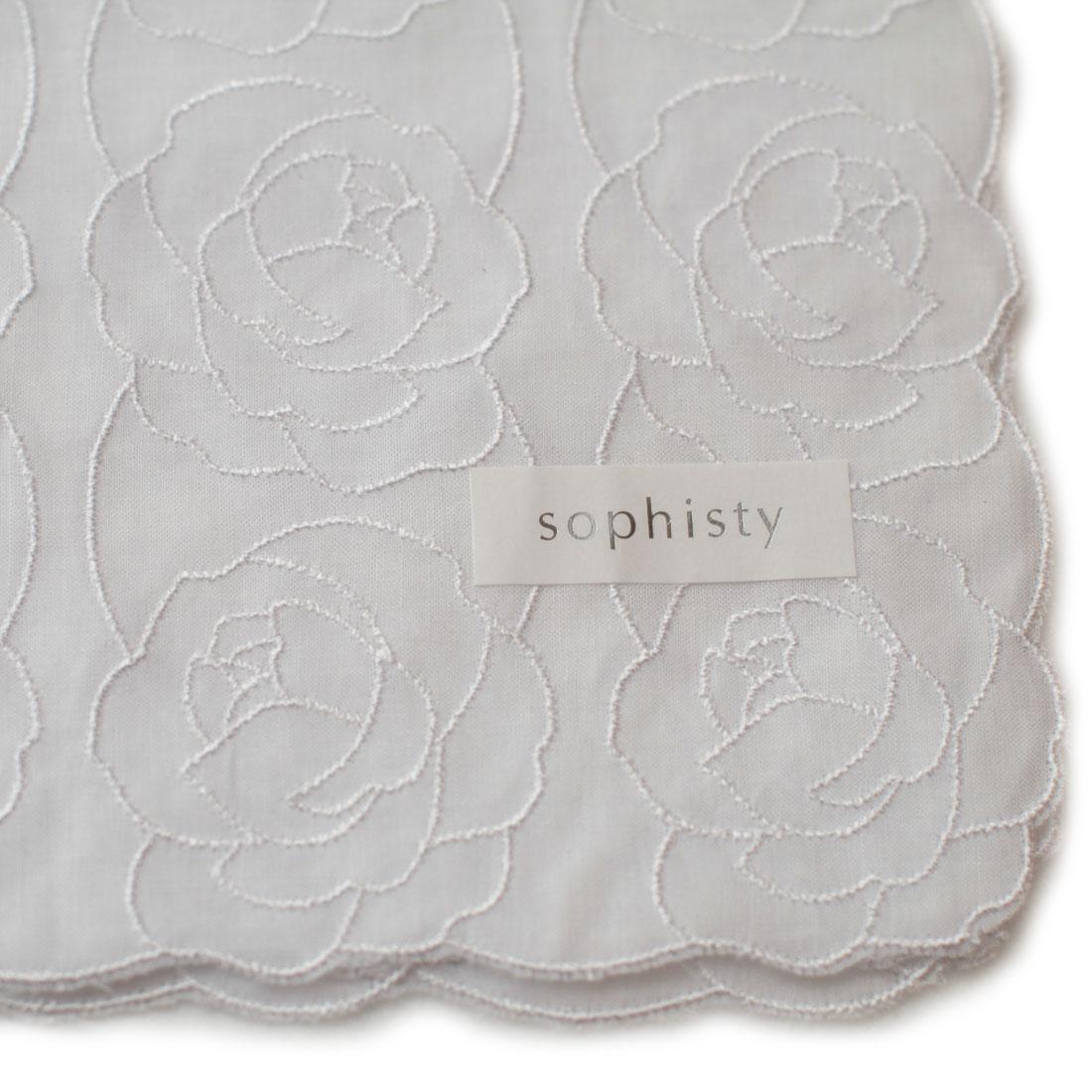 ソフィスティ 刺繍入りハンカチ 0201 ホワイト