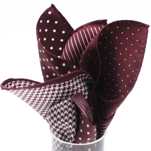ポケットチーフ 4 patterns 5255 ワイン
