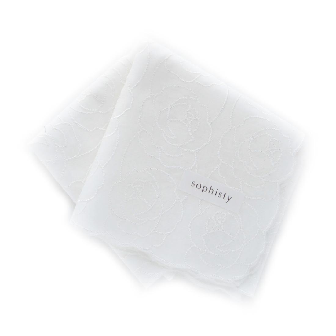 ソフィスティ 刺繍入りハンカチ 0201 アイボリー