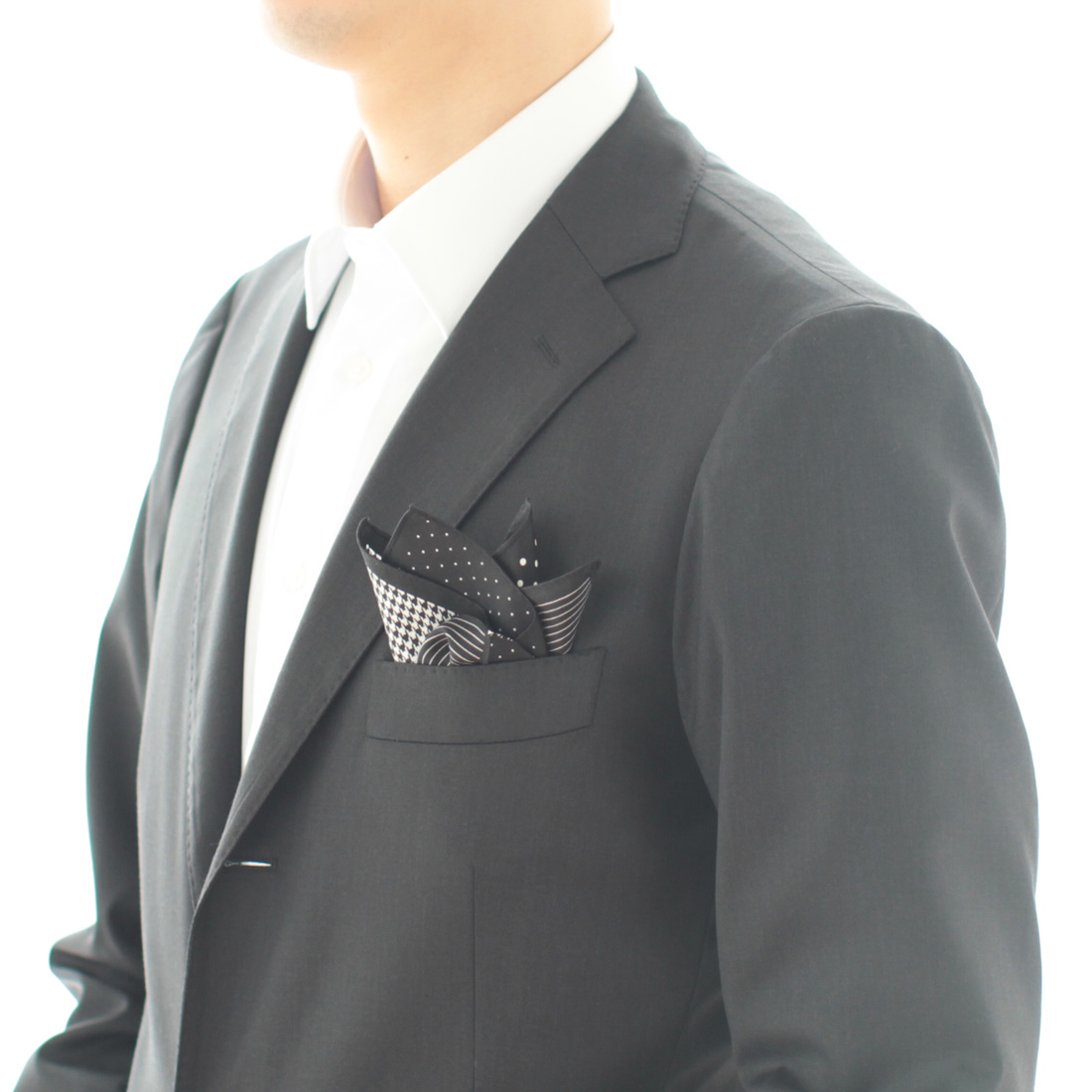 ポケットチーフ 4 patterns 5255 ブラック