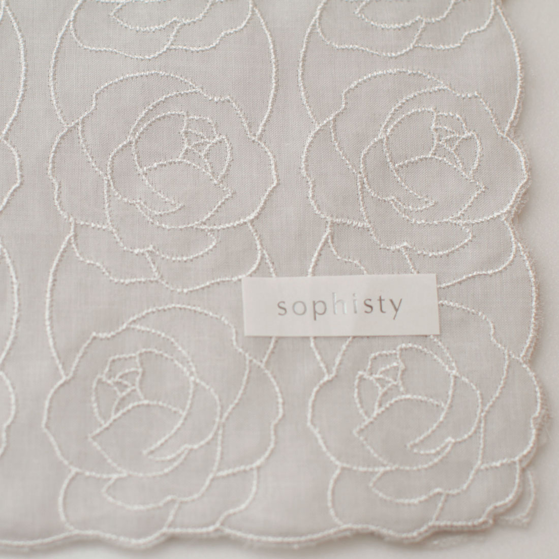 ソフィスティ 刺繍入りハンカチ 0201 グレー