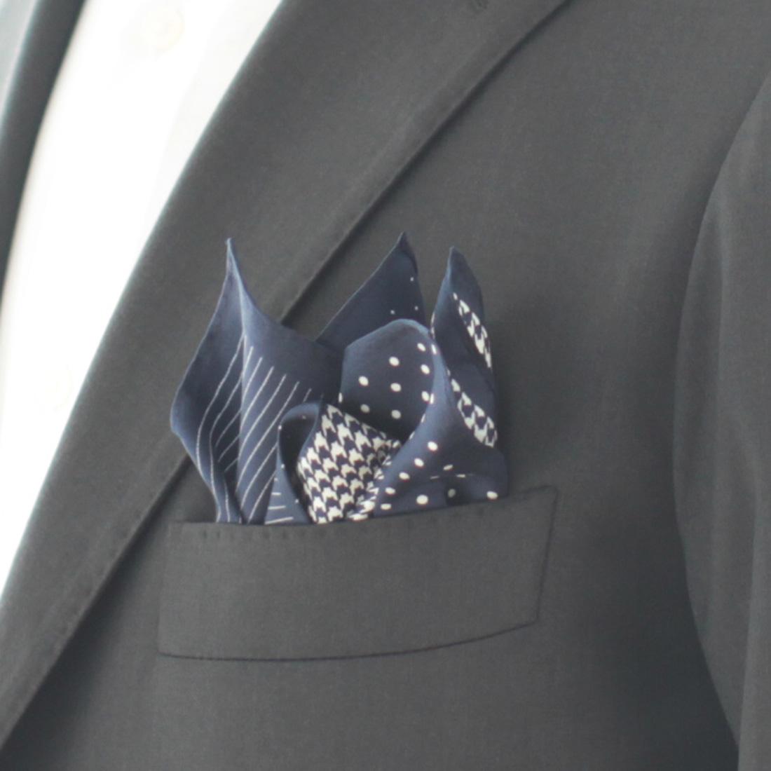 ポケットチーフ 4 patterns 5255 ネイビー