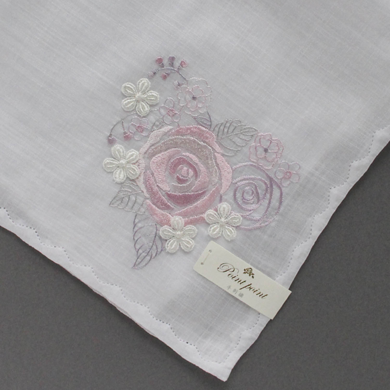 【送料無料】ベトナム手刺繍ハンカチ 花 8213 ホワイト