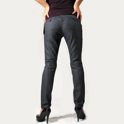 Raven Denim(レーベンデニム) DORIS Slim Crop Trouser Navy Houndstooth トラウザーパンツ