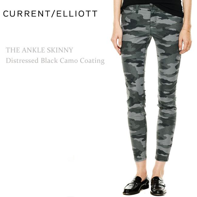 Current Elliott(カレントエリオット) THE ANKLE Skinny Distressed Camo Black Coating スキニーパンツ