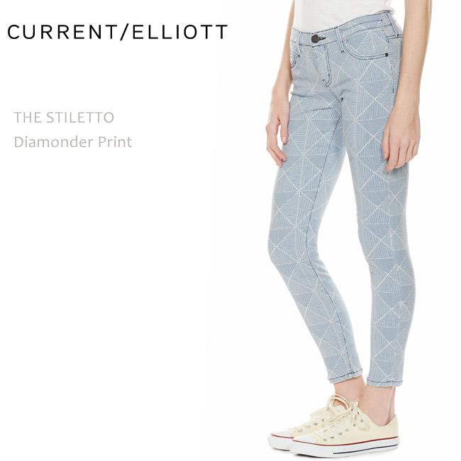 Current Elliott(カレントエリオット) THE STILETTO Diamonder Print スキニーデニム