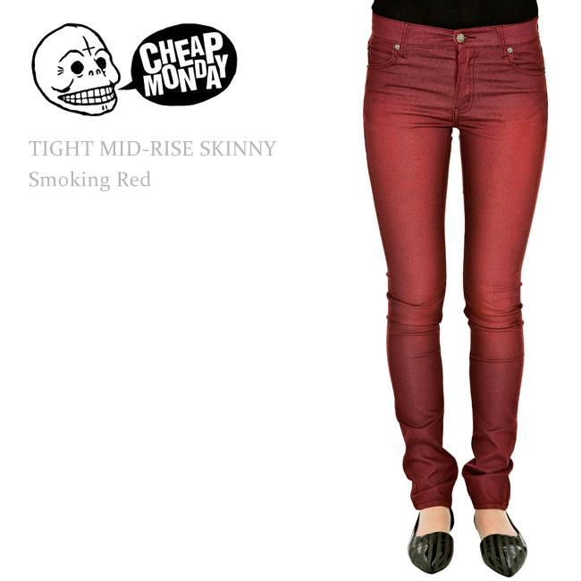 Cheap Monday(チープマンデー) TIGHT Mid-Rise Skinny Smoking Red スキニーデニム