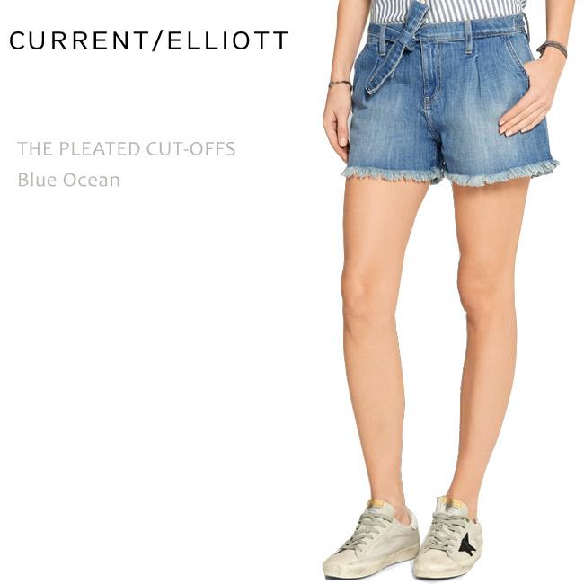 Current Elliott(カレントエリオット) THE PLEATED CUT-OFFS Blue Ocean デニムショートパンツ