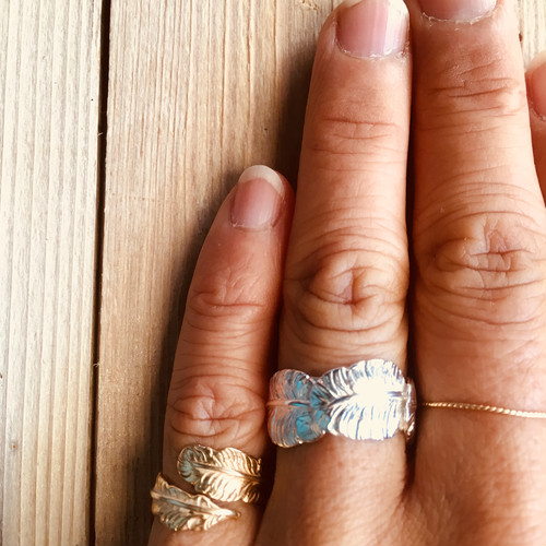 <Tresure friends>FEATHER WRAP RING SILVER