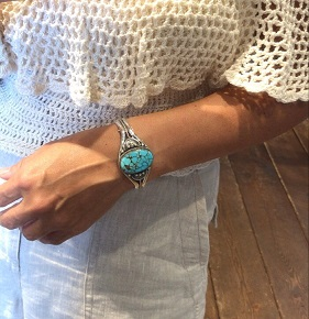 <Indian Jewelry>No.8 Turquoise Silver Bangle