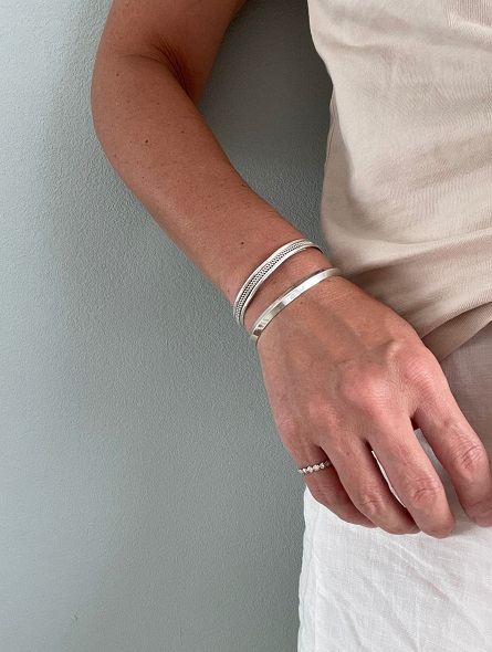 <Indian Jewelry>SimpleSharpSilverBangle