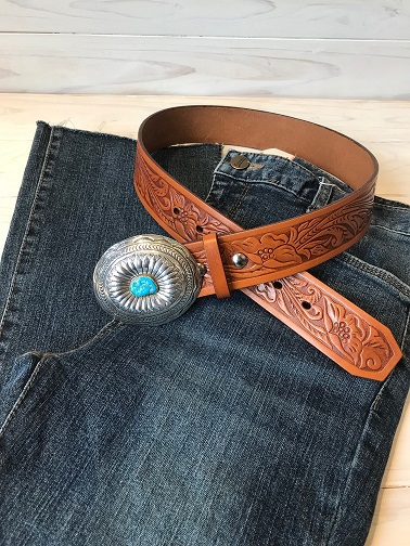 <Indian Silver Belt>Turquoise Oval Concho Belt