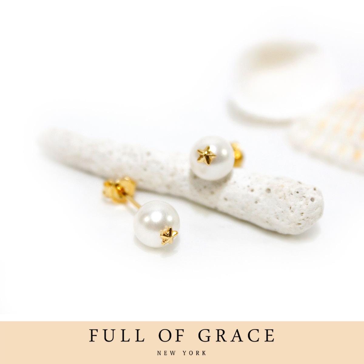 Full of Grace NY Jewelry フルオブグレイスニューヨークジュエリー PEARL STAR PIERCE EARRINGS