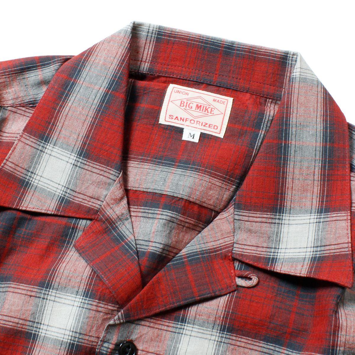 BIG MIKE ビッグマイク チェックオープンカラーシャツ